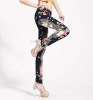 2014 Europe style Slim black painted print flower pants Skinny pencil pants denim trousers women's pants #6029