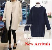 High Quality 2014 New Women Winter Loose Wool Coats Elegant Lady Korean Outerwear Medium Long Jacket Womans Fashion OL Tops 503