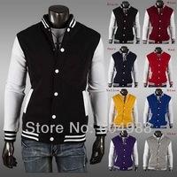 Hot Classic Men's Baseball College Casual Cardigan Hoodie Coat Jacket 8Color