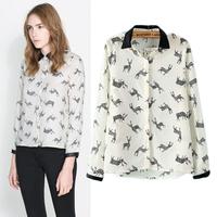 2014 Direct Selling Button Full New Europe Women Brand Designer Blouses Shirts Spell Leather Collar Deer Printing Sleeved Shirt
