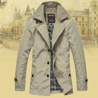 Mens 2014 british spring/autumn men's business and leisure designer brand Slim long trench jacket men's polyester overcoat XXL