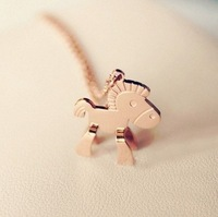 2014 New !Good quality! Good lady Fahion cute horse print pendant O chain 14k rose gold plated jewerly New brand necklace N30