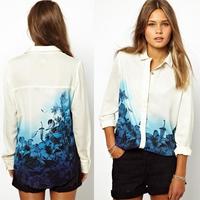 2014 Limited Tassel Regular Floral New Europe Women Brand Designer Blouses Shirts Ink Gradient Flowers Chiffon Sleeved Shirt