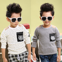Children's clothing winter child sweatshirt male child velvet thickening basic shirt tiger t-shirt 16d