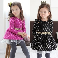 Female child children's clothing 2014 spring polka dot baby long-sleeve dress pleated skirt child skirt female 1d