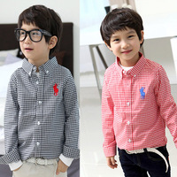 Child shirt 2014 children's spring clothing top male female child baby 100% cotton long-sleeve plaid shirt 42d