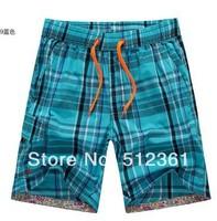 2014 new Plaid pant Beach pants men's pants  pure cotton surf board shorts swim pants swimwears swimming trunks