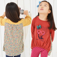 2014 spring fashion female print little girl three-dimensional bow T-shirt o-neck long-sleeve shirt 39f