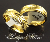 Leya Wholesale 18pcs 6mm Gold Polished High quality Comfort Band Ring Stainless Steel Rings Fashion Jewelry Free shipping