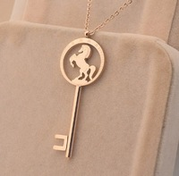 2014 New !Good quality! Fahion keys horse print pendant O chain 14k rose gold plated jewerly New brand necklace N29