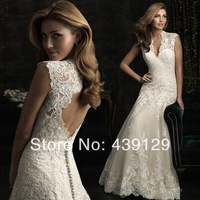 Luxury V Neck Champagne Wedding Dresses 2014 New Design Keyhole Back Lace Bridal Gowns for Women Custom Made