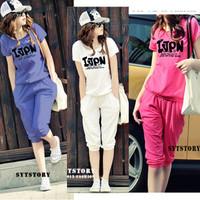 2013 summer plus size clothing loose 100% cotton short-sleeve casual t-shirt sports set female
