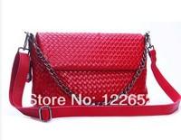 2014 beautiful woven handbag one shoulder head layer cowhide leather chain bag free shipping B-34