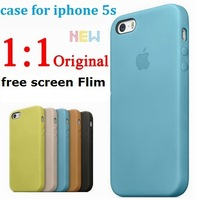 1:1 for Apple logo original official High quality Durability Leather Case For Iphone 5 5S phone bags cases +1 Free Screen Flim