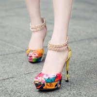 Free Shipping 2014 New women  Genuine leather color block summer shoes high heels platform flower print beading zipper sandals