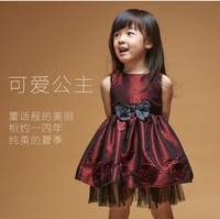 2014 new baby girls dresses kids fashion party wear dress girls bountique princess dress with ribbon bow 5pcs/lot drop shipping