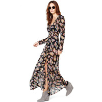 2014 new fashion Small print long sleeve length front fly breasted black soft chiffon long design haoduoyi one-piece dress