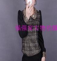 2013 autumn and winter peter pan collar shirt plus size paillette chiffon patchwork basic shirt