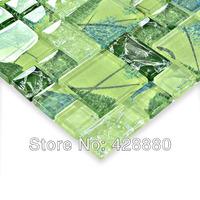 Crackle glass mosaic tile glossy Mosaic glass tiles ice crack Crystal backsplash kitchen wall tile bathroom floor sticker HM3006