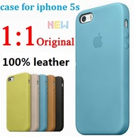 for Apple logo Genuine leather original official High quality Durability Case For Iphone 5 5S phone bags cases Free Screen Flim