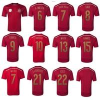 2014 world cup spain soccer jersey Original thailand quality football jersey shirt A Iniesta Fabregas David Villa Xavi ISCO Mata