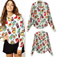 New Special Offer Button Regular Print 2014 Europe Women Brand Designer Blouses Shirts Cans Printing Lapel Sleeve Chiffon Shirt