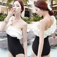 2013 hot spring swimwear personality oblique slim triangle one-piece swimsuit lotus leaf laciness female swimwear