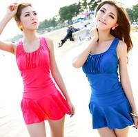 2014 New Ajee swimwear female skirt one piece swimwear plus size hot spring swimsuit  Free Shipping