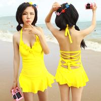2014 New Hot spring swimwear female small steel push up one-piece dress fashion swimwear  Free Shipping