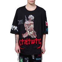 Letter skull 2013 embroidered pattern o-neck loose half sleeve male cotton casual hiphop t-shirt lovers