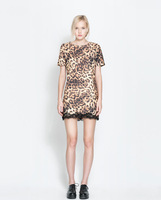 2014 Newest Summer Brand Women Leopard Prints Patchwork Lace Short Sleeve Dress,Ladies Fashion Sexy Tank Dress q184
