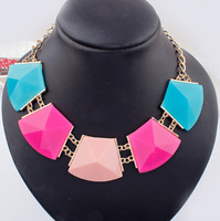 Fashion Necklace 2014 New Design Metal Chain Statement Necklace Geometric Resin Rhinestone Leading Luxury Jewelry  Necklaces