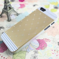 Hot Sell Metal Diamond Rhinestone corrugated case for iphone 5 5s phone bags cases High quality Free Screen Protector