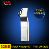 Ssk k5 100% 32GB usb flash drive metal key chain usb flash drive waterproof usb flash drive 32G  Free shipping