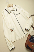 2014 Spring women's slim solid color scalloped embroidery front fly long-sleeve shirt