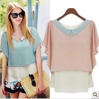 Free shipping! 2014 summer fashion loose Blouse  ruffled pleated sleeve top chiffon shirt