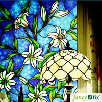 Free shipping glass window  film orchids decorate bathroom frosted glue sticker opaque sunscreen bathroom