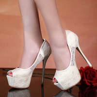 2014 new woman shoes female shoes lace platform thin heels 14cm ultra high heels open toe single shoes women's pumps