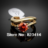 Round clear crystal 18K Gold plated fashion jewelry Zircon CZ Diamond Engagement Rings for Woman Full Size Wholesale C-J0003
