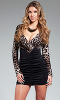 Autumn -Summer Leopard long Sleeve Black sexy Dress sheath dress long 2013 LC2906