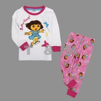 Free Shipping 18m-6y Nova new 100% cotton kids clothing autumn-winter baby girls lovely sets print cartoon Dora suits FG4426#