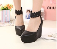 2014 women's shoes wedges pointed toe shoes