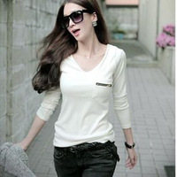 2014 spring t-shirt female long-sleeve plus size clothing V-neck slim 100% cotton long-sleeve T-shirt basic shirt