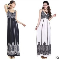 New 2014 Summer New Bohemian Drag Pendulum Friesian Sling Ice Silk Dress  printed beach Skirt Dress JH40