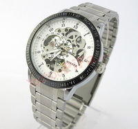 Fashion Business Watches Black White dial Stainless steel band Automatic Mechanical Watch 0048
