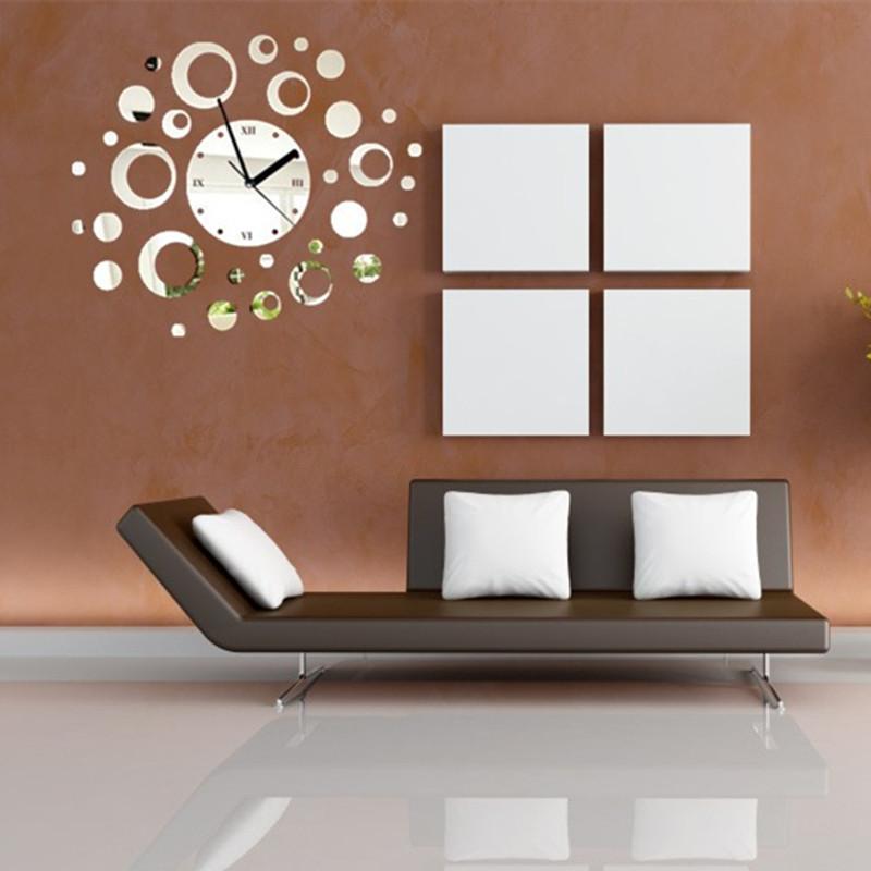 2014 3d home mirror effect decoration wall clock modern