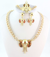 New Elephant Pendant Necklace Jewelry Set Gold Plated Necklace Women Accessories