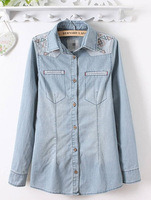 Good Quality 2014 Spring New Hot Women Denim Shirt Embroidery Water Washed Casual Jeans Womans Fashioin Loose Blouses Tops 308