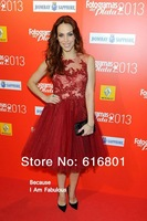 Nerea Garmendia Fashion Red Applique A-line Short Custome Red Carpet Celebrity Dresses