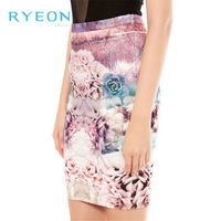 2014 new spring Europe Women's Elegant Sexy Slim Retro Flower Digital Printing Skirts XS/S/M/L Free Shipping